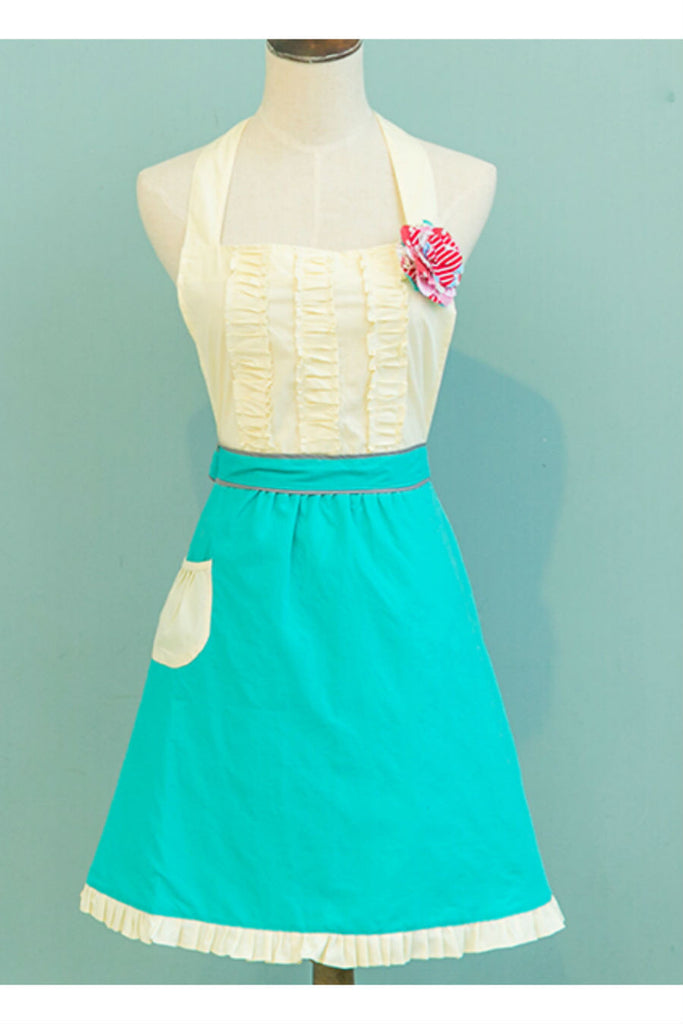 Vintage Yellow Mint Ruffle Apron