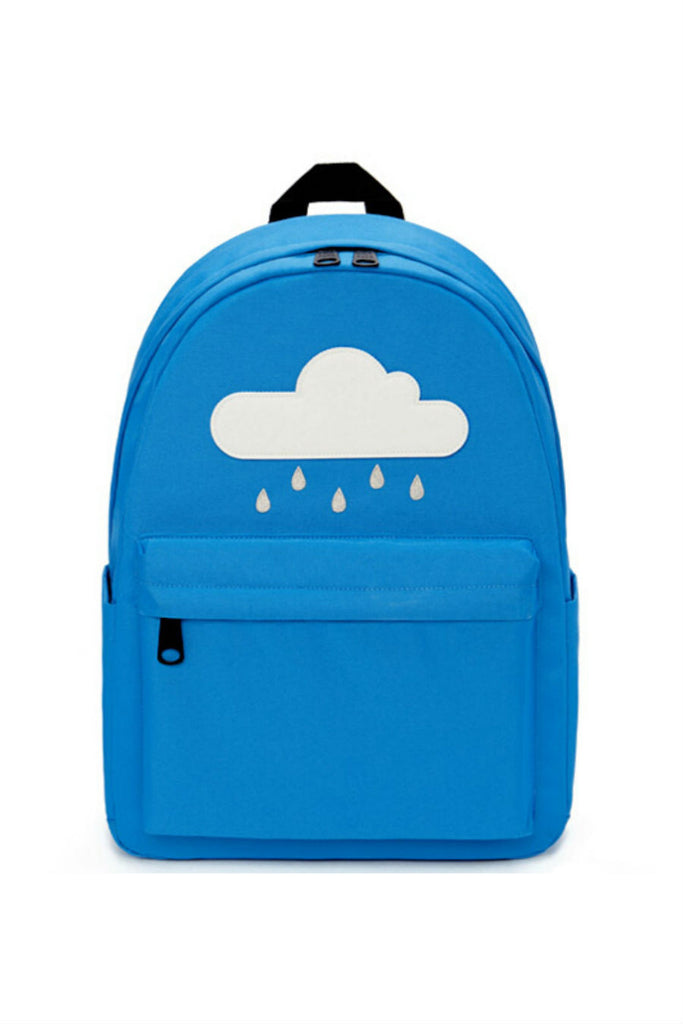 Harajuku Blue Cloud Rainy Canvas Backpack