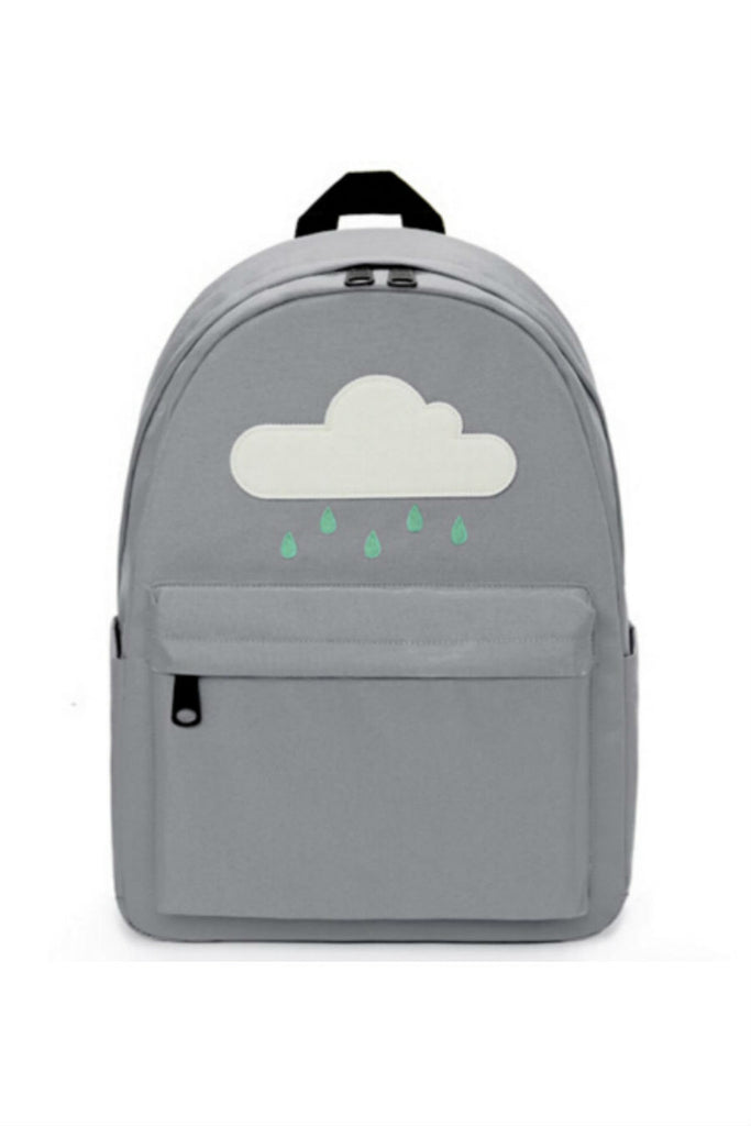 Harajuku Gray Cloud Rainy Canvas Backpack