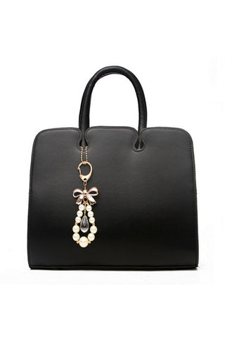 Elegant Black Leather Tote Bag