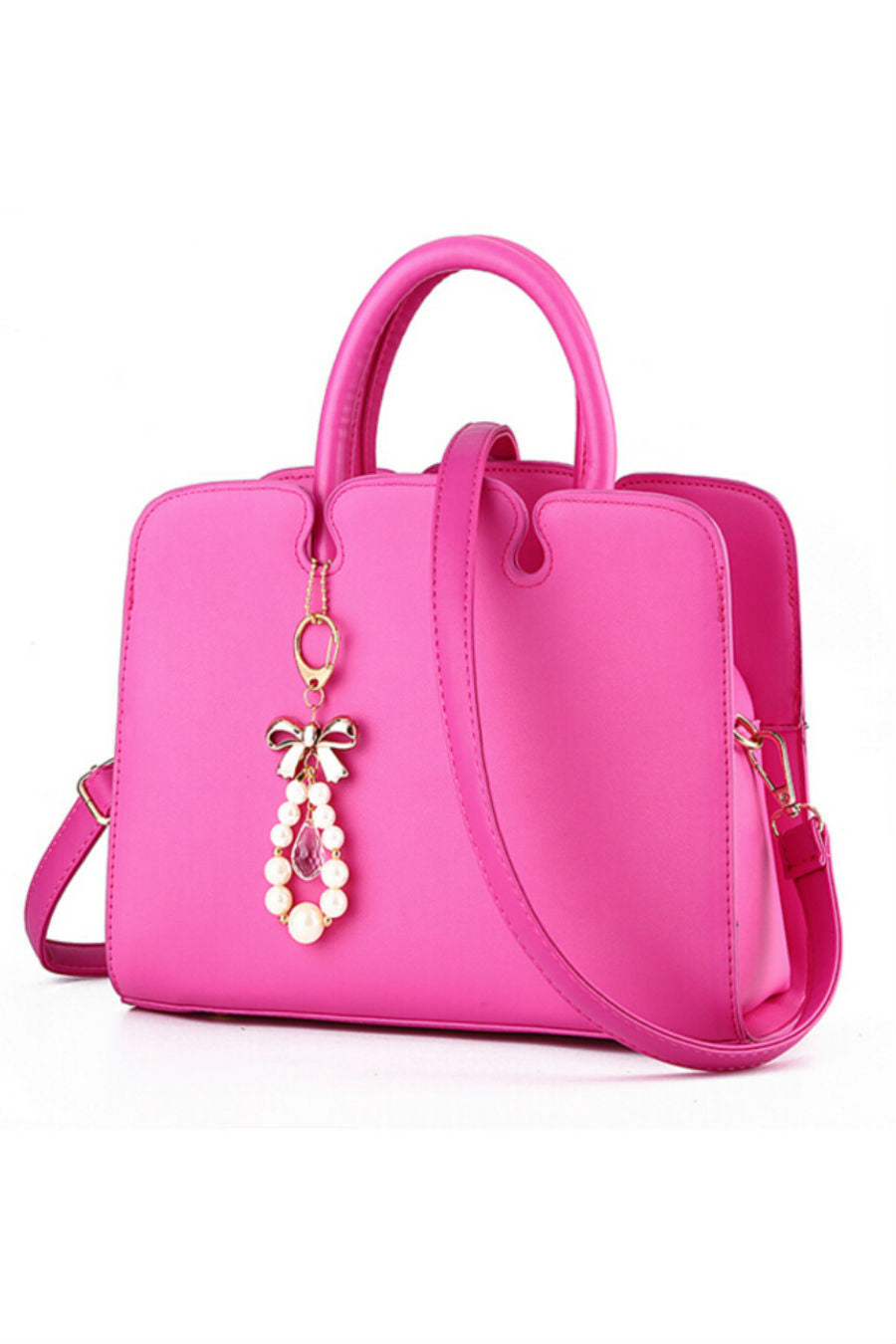 Elegant Fuchsia Leather Tote Bag