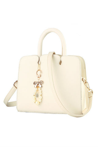 Elegant Cream Leather Tote Bag