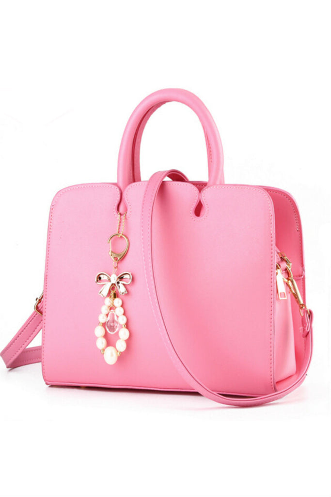Elegant Pink Leather Tote Bag