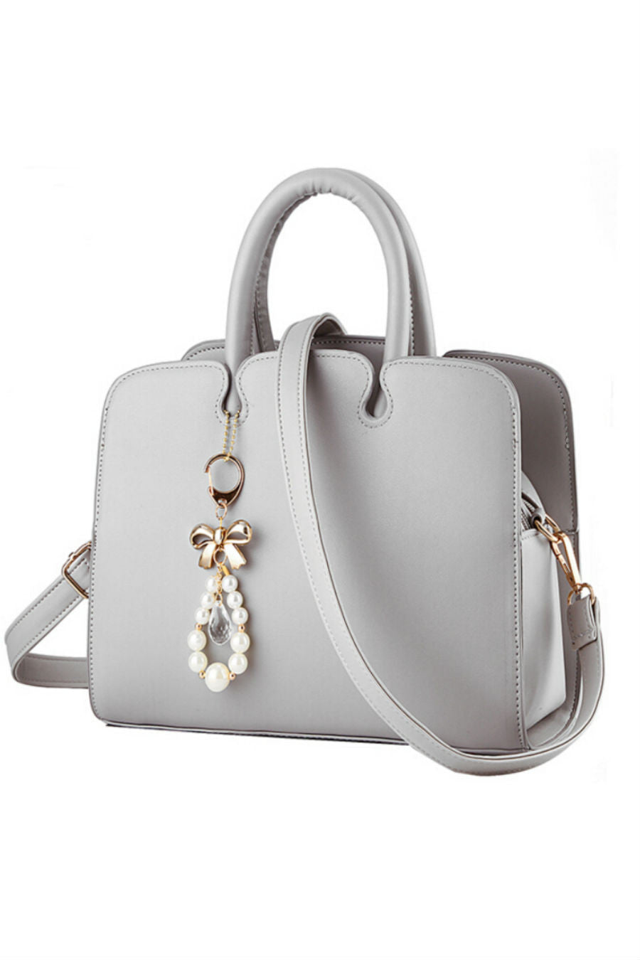 Elegant Gray Leather Tote Bag