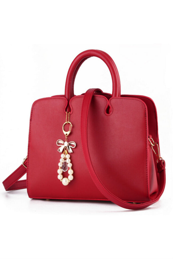 Elegant Red Leather Tote Bag