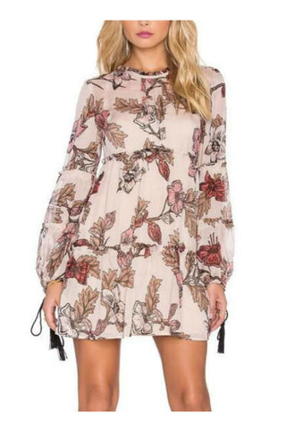 Boho Floral Printed Long Sleeve Chiffon Dress