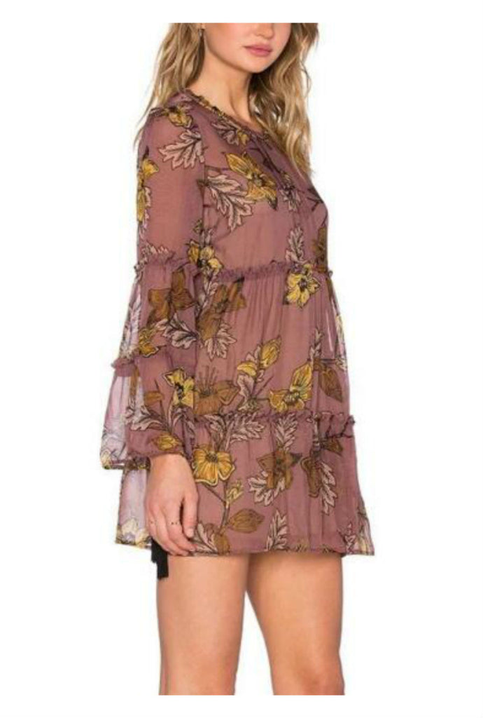 Print Long Sleeve Chiffon Dress