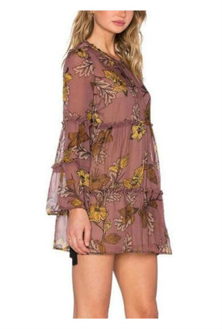 Summer Floral Printed Long Sleeve Chiffon Dress
