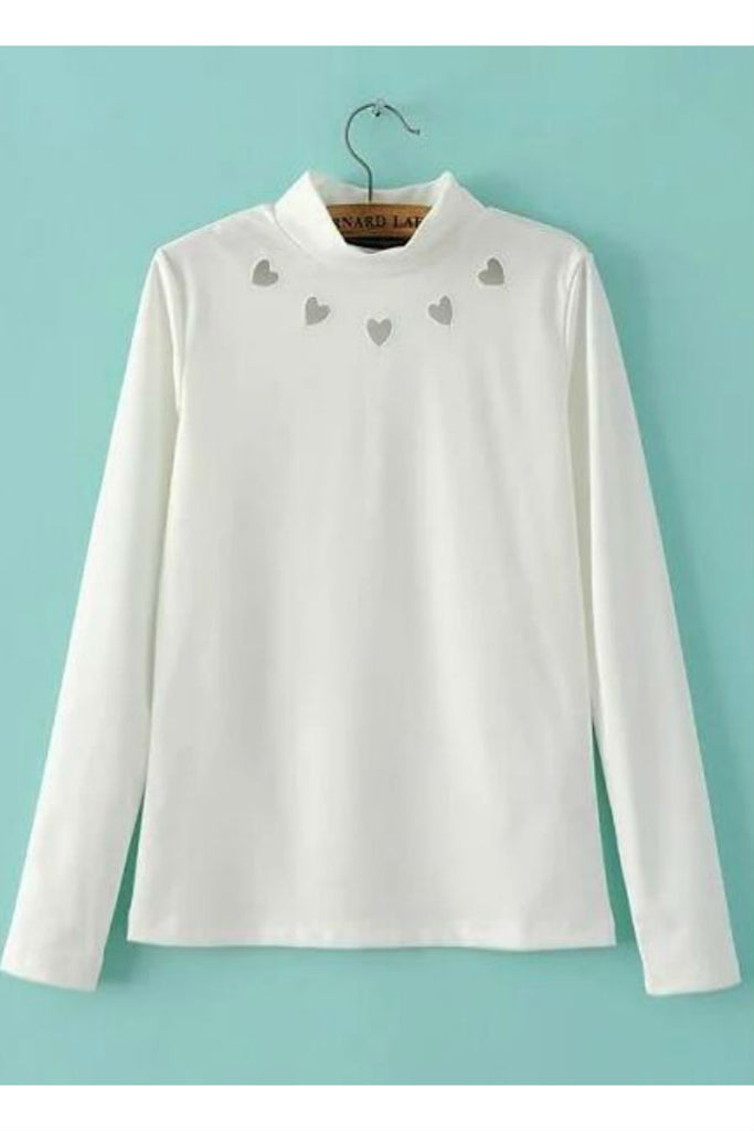 White Heart Cut Out Sweatshirt