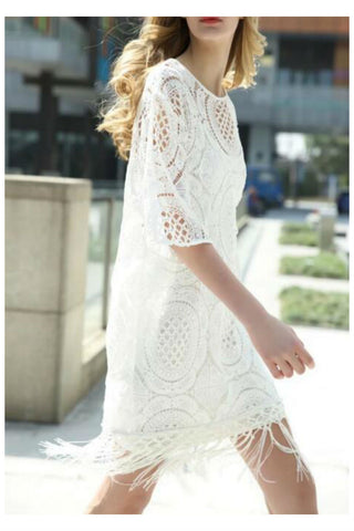 White Tassel Hem Hollow Lace Dress
