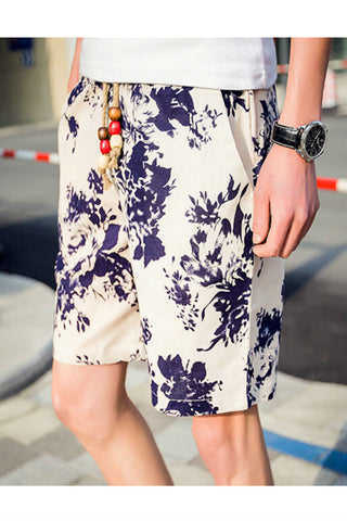 Men's Summer Floral Printed Drawstring Shorts