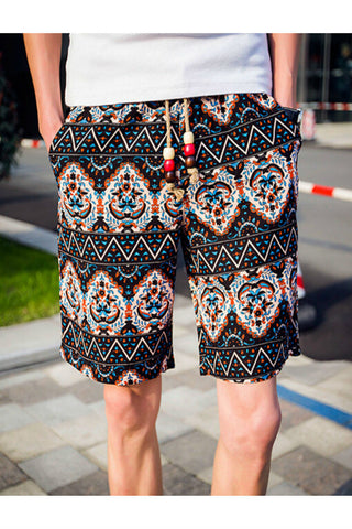 Ethnic Floral Printed Drawstring Shorts