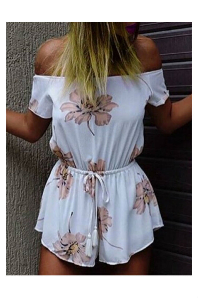 Strapless Floral Romper In White