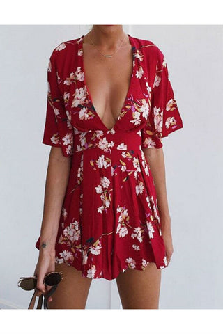 Red Floral Deep V-Neck Printed Romper