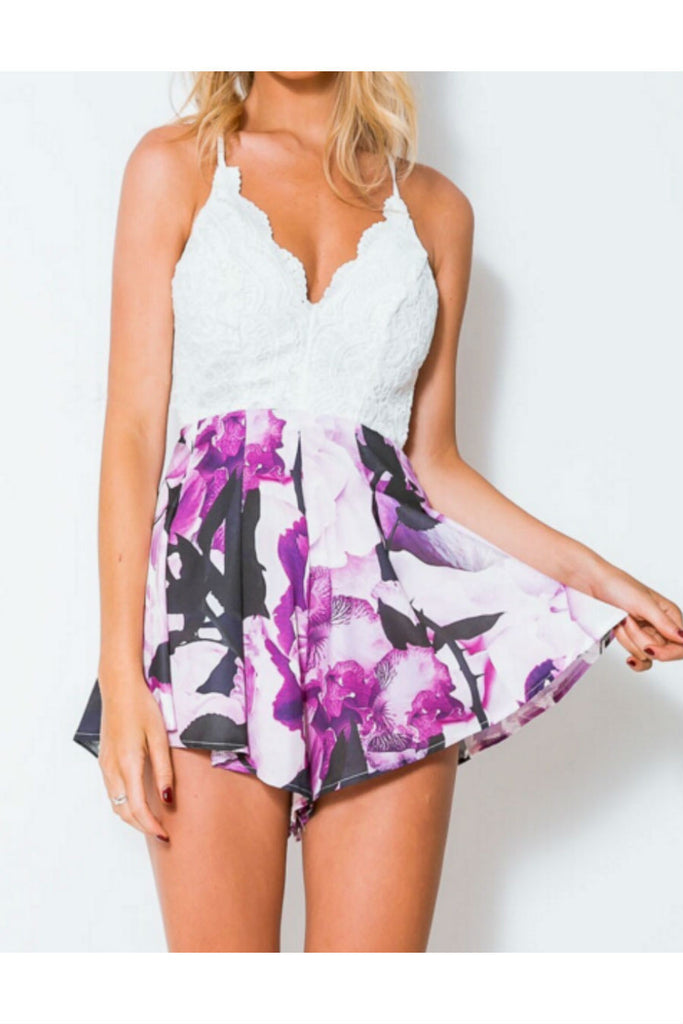 Backless Lace Floral Strapped Romper