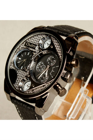Hip Hop Chronograph Leather Strap Watch