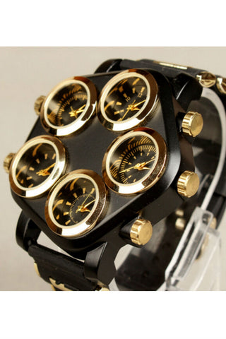 Black Five Dials Hip-Hop Watch