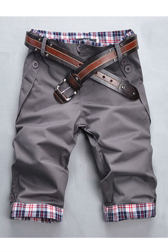 Man Slim Fit Gray Shorts