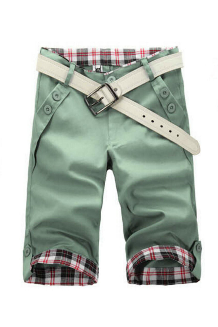 Man Slim Fit Green Shorts