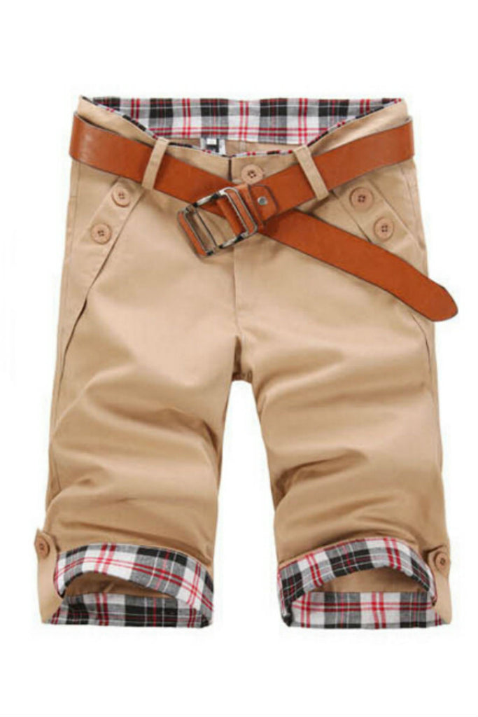 Man Slim Fit Tan Shorts