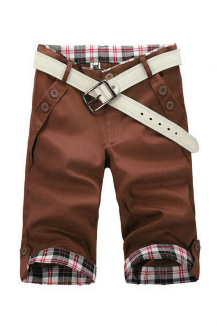 Man Slim Fit Dark Brown Shorts