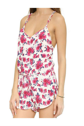 V-Neck Floral Straped Romper