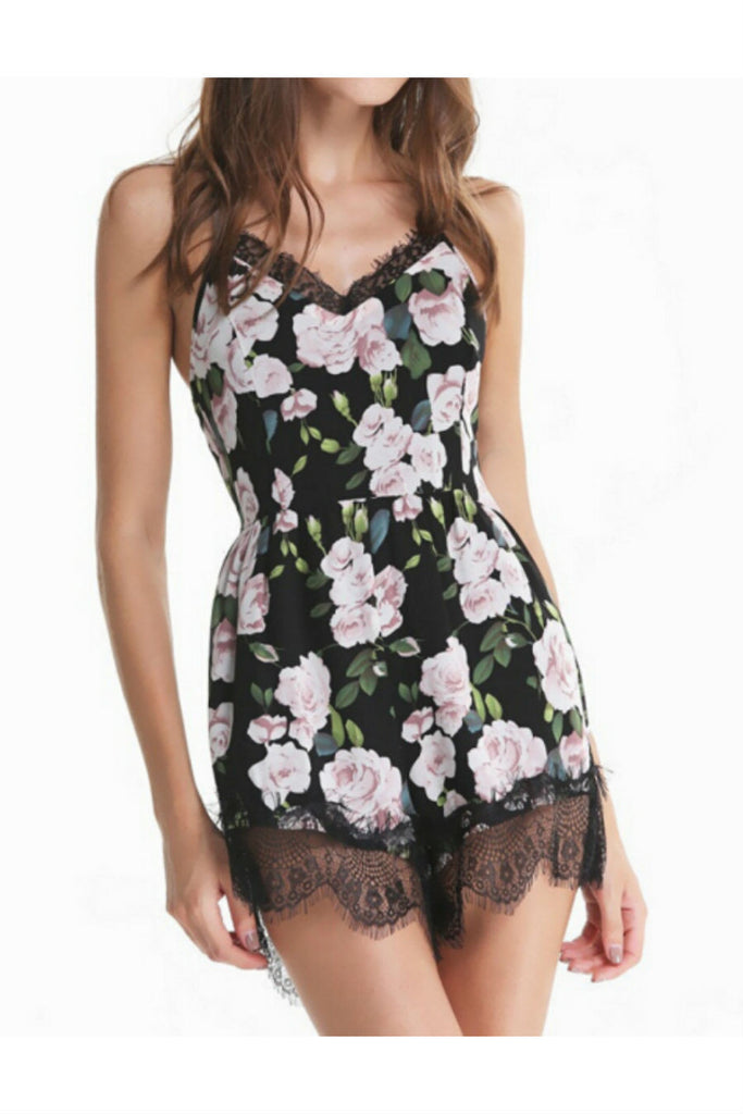 Lace Floral Strapped Romper