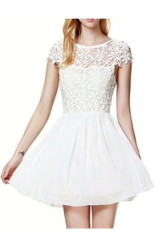 White Floral Lace Dress