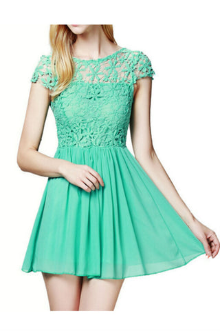 Green Floral Lace Dress