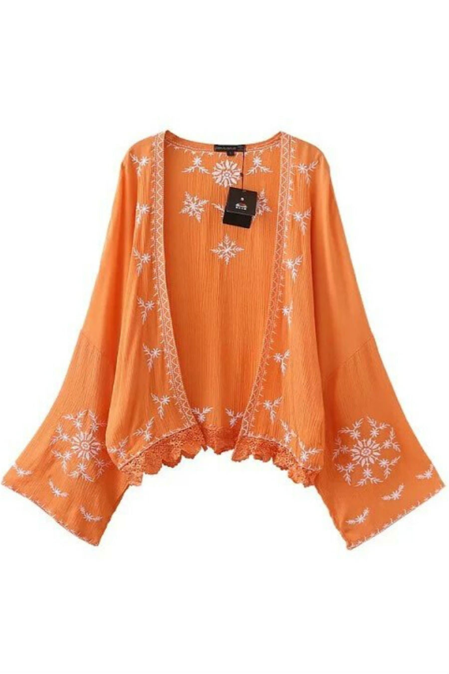 Orange Retro Embroidery Kimono