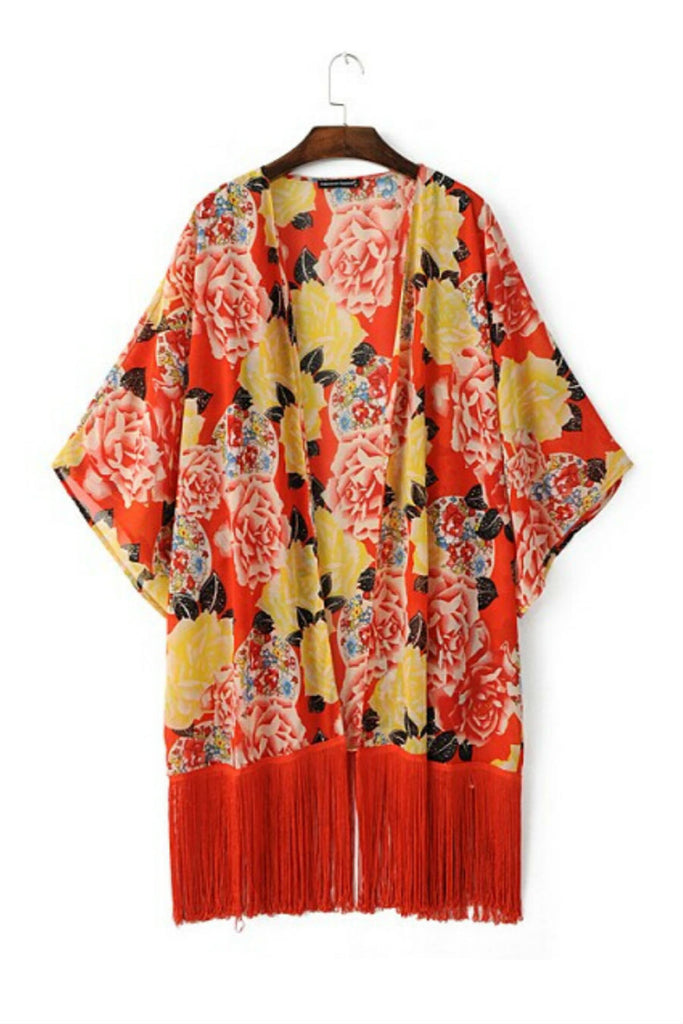 Red Floral Printed Tassel Kimono