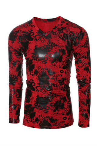 Red V-neck Printed Sweatshirt