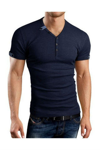 Slimming V-neck Navy T-shirt