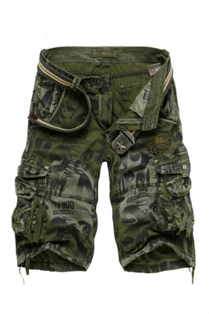 Men's Casual Camo Printed Shorts In Army Green