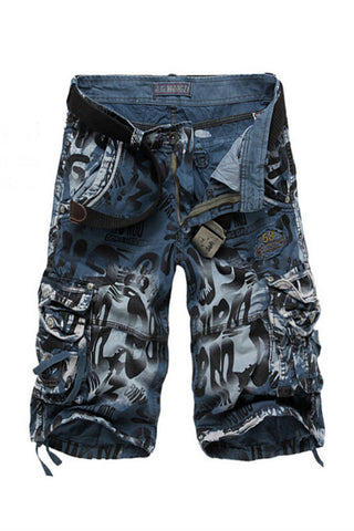 Men's Casual Camo Printed Shorts In Blue