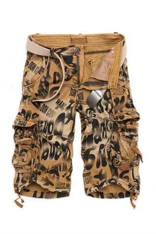 Men's Casual Camo Printed Shorts In Tan