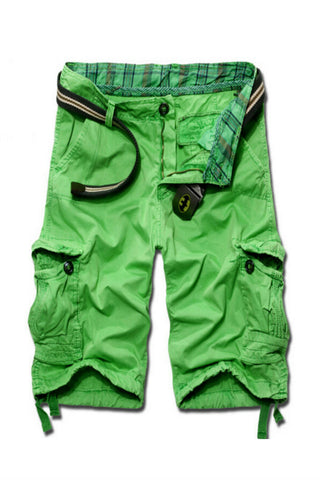 Men's Casual Cargo Shorts In Neon Green