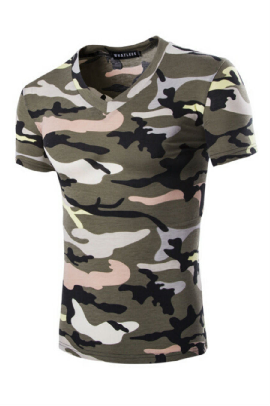 Mens Camo V-Neck T-shirt