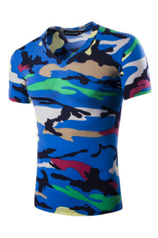 Fashion Mens Camouflage V-Neck T-shirt In Blue