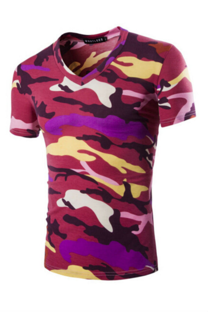 Mens Camouflage V-Neck T-shirt