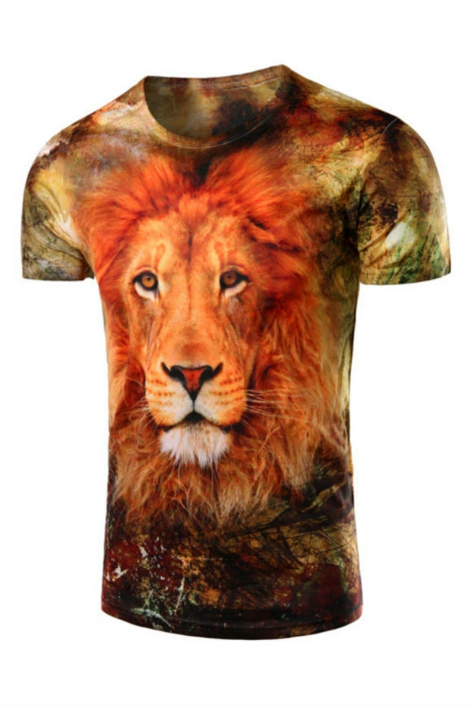 Hip Hop Mens 3D Lion Printed T-shirt
