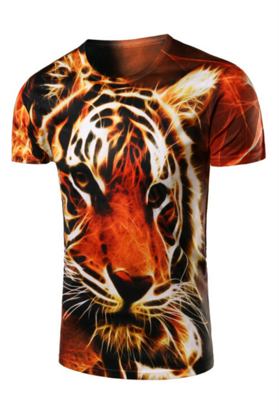 Slim Fit Tiger 3D Printed T-shirt