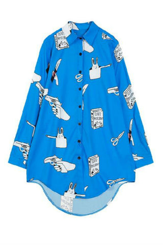 Blue Cartoon Printed Blouse