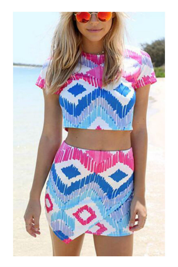 Multicolor Printed Two Pieces Dress Set