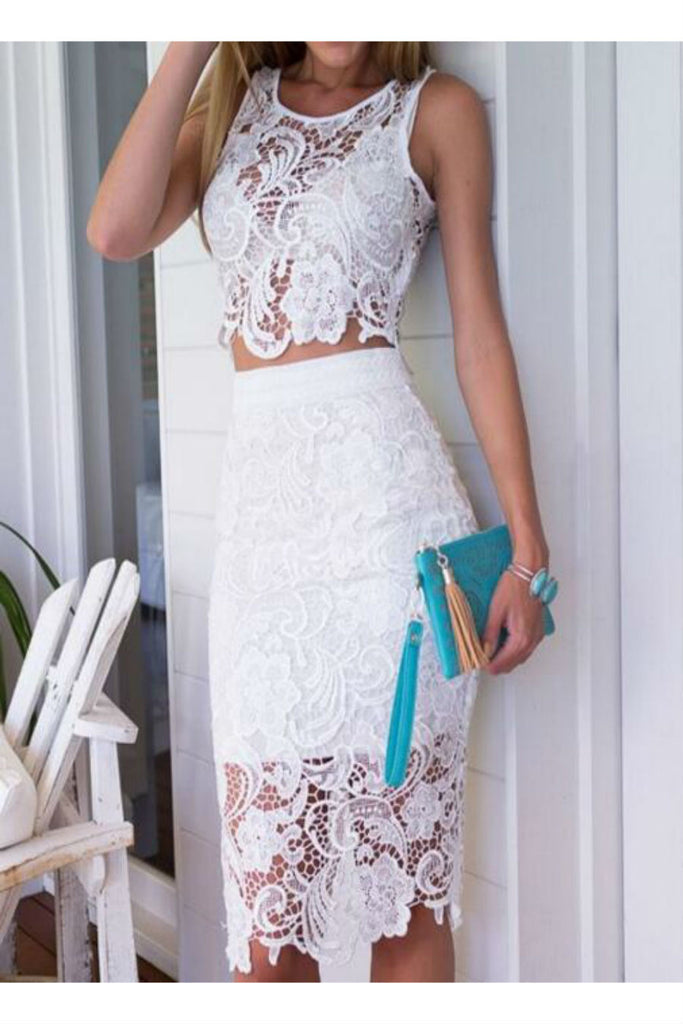 White Lace Two Pieces Set