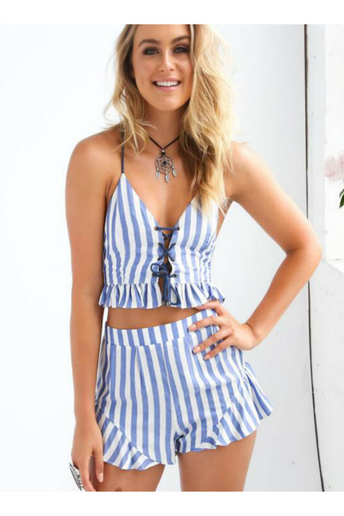 Lace Up Striped Co-Ord Set