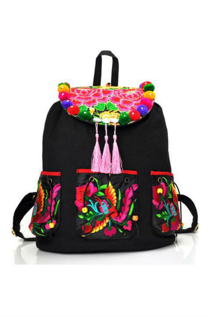 Ethnic Floral Embroidery Backpack