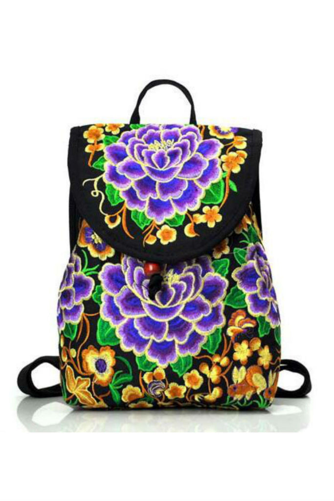 Ethnic Purple Peonies Floral Embroidery Backpack