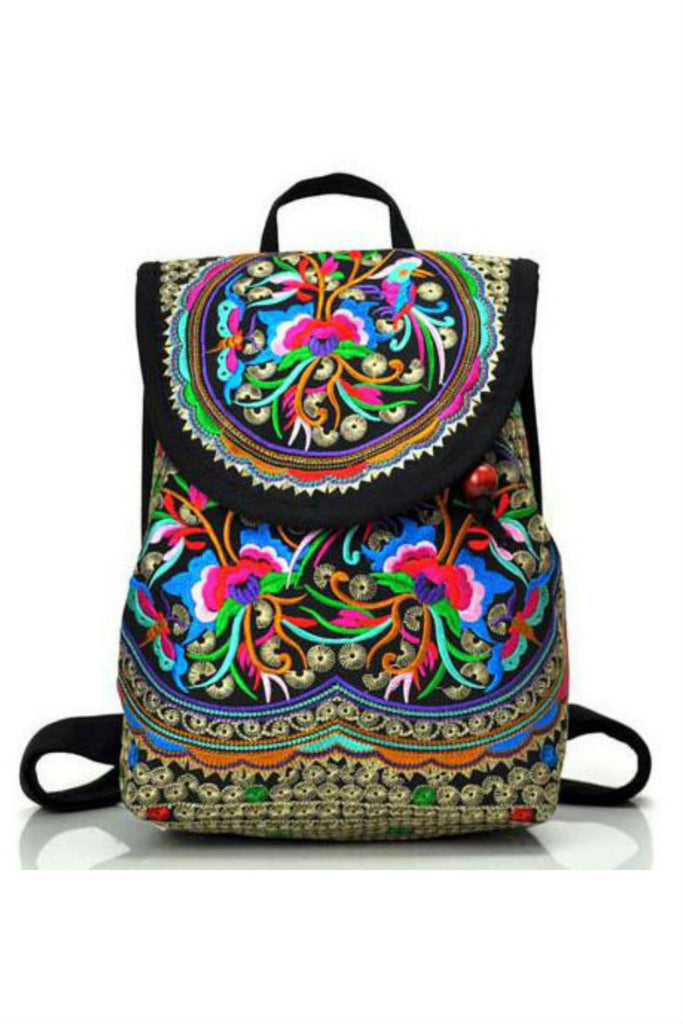 Boho Ethnic Floral Embroidery Backpack