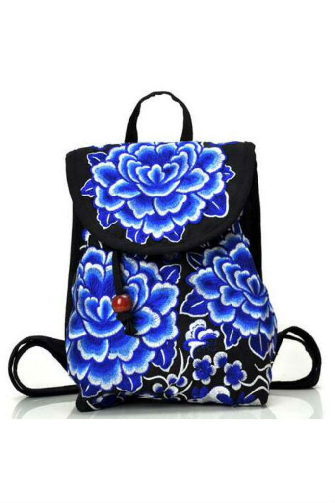 Green Flower Porcelain Embroidery Backpack
